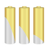 Gold and Metallic AA batteries over white background. Vector  illustration Stock Photos