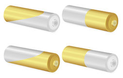 Gold and Metallic AA batteries over white background. Vector  illustration Royalty Free Stock Photography