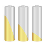 Gold and Metallic AA batteries over white background. Vector  illustration Stock Images