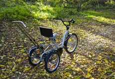 Gold metallic and black adult tricyclefor for children with disabilities cerebral palsy and children with disabilities. Gold metallic and black adult tricycle stock photos