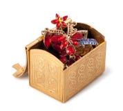 Gold metallic box with jewelry Stock Image