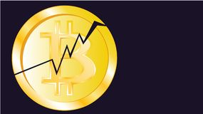 Gold metallic bright shimmering yellow volumetric cracked coin bitcoin. Obverse of the broken bitcoin coin on a dark blue backgrou. Nd and copy the space. The Royalty Free Stock Photo