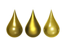 Gold metallic drop with clipping path Royalty Free Stock Photos