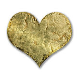 Gold metallic grunge heart Royalty Free Stock Photos