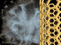 Gold metallic nanotube on black cloudy background Stock Photos