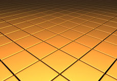 Gold metallic reflective cubes in a grid pattern. Gold metallic reflective surface comprised of cubes in a grid pattern Royalty Free Stock Images