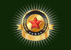 Gold metallic shields and red stars templates. Stock Image