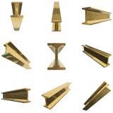 Gold metallurgy beam. Gold metallurgy I-beam profile set 3d render isolated on white background royalty free illustration