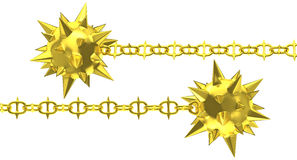 Gold meteor hammer with spiky chain Stock Photo