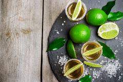 Gold mexican tequila shot Royalty Free Stock Photos