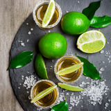 Gold mexican tequila shot Royalty Free Stock Photo