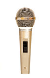 Gold microphone. Universal dynamic microphone for a sound recording Stock Photos
