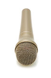 Gold microphone. Universal dynamic microphone for a sound recording Royalty Free Stock Image