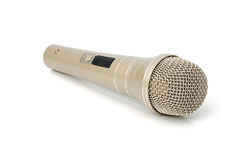 Gold microphone. Universal dynamic microphone for a sound recording Stock Photography
