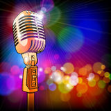Gold Microphone & Color Lights Royalty Free Stock Photo