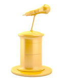 Gold microphone on pedestal Stock Photos