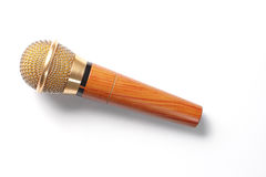 Gold microphone. On White background Royalty Free Stock Photos