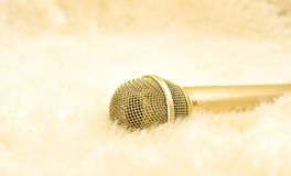 Gold microphone on wool carpet. Luxury concept. Golden microphone on white wool carpet. Luxury and entertainment concept stock photography