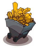 Gold Mine Cart, Vector Illustration. Royalty Free Stock Photography