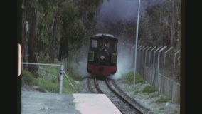 Gold Mine Museum Train Station. SOUTH AFRICA, WITWATERSRAND, NOVEMBER 1981. Three Shot Sequence At The George Harrison Park Train Station In Gold Reef City. Old stock footage