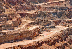 Gold mine open cast. Background of industrial landscape on the open pit. Opencast textured land Stock Photo