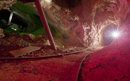 Gold Mine Tunnel with Flare Stock Image