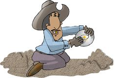 Gold Miner. This illustration that I created depicts a man panning for gold Stock Photography