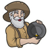 Gold Miner. Illustration of a miner holding a pan of gold Stock Photo