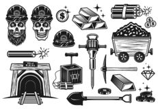Free Gold Mining And Treasure Digging Vector Objects Stock Photography - 144512172