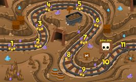 Gold Mining Cave Game Level Map. Illustration of underground gold mining cave for creating game level map for adventure or puzzle games stock illustration