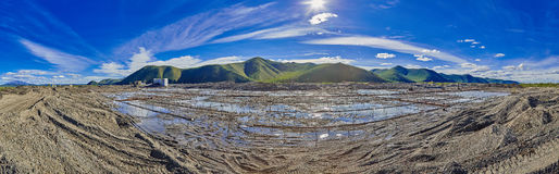 Gold mining by the Drag. Water-thaw a frozen ground. The Magadan area. Susuman. Kolyma Stock Image
