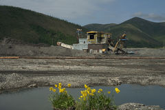 Gold mining. In Kolyma. Magadan region Royalty Free Stock Photography