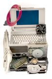 Electronic waste recycling from old computer parts. Gold mining from old computer parts and processors. Gold recovery from computer parts stock photography