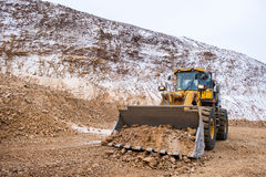 Gold mining at an open pit. In the winter Royalty Free Stock Images