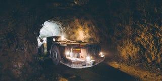 Gold mining underground. Truck tunnel mine machine geology royalty free stock photo
