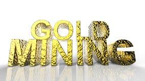 Gold Mining written 3d illustration Royalty Free Stock Photos