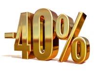 Gold -40%, minus des vierzig Prozent-Rabatt-Zeichens Stockbild