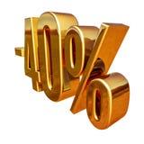 Gold -40%, minus des vierzig Prozent-Rabatt-Zeichens Lizenzfreies Stockbild