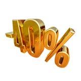 Gold -40%, minus des vierzig Prozent-Rabatt-Zeichens Lizenzfreie Stockfotos