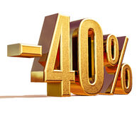 Gold -40%, Minus Forty Percent Discount Sign Royalty Free Stock Image