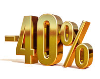 Gold -40%, Minus Forty Percent Discount Sign Stock Photo