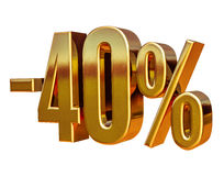 Gold -40%, Minus Forty Percent Discount Sign Stock Image