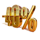 Gold -40%, Minus Forty Percent Discount Sign Royalty Free Stock Photography