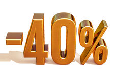 Gold -40%, Minus Forty Percent Discount Sign Stock Photography