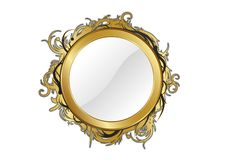 Gold mirror. Isolated for any background Stock Photo