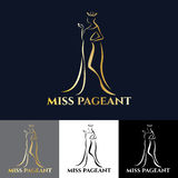 Gold miss lady logo for pageant vector art design Stock Photography