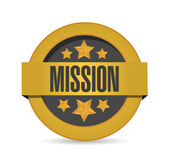 Gold mission seal stamp illustration isolated Stock Photography
