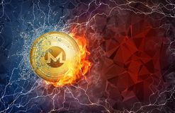 Gold Monero coin hard fork in fire flame, lightning and water splashes. Golden Monero coin in fire flame, water splashes and lightning. Monero blockchain hard Royalty Free Stock Photos