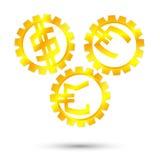 Gold monetary mechanism. Timing gears, gear monetary gold Stock Photo