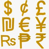 Monetary Symbols. Gold Monetary Symbols 3D Rendering Royalty Free Stock Photo
